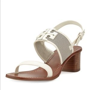 Tory Burch Lowell Perforated Sandals Logo Leather